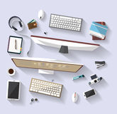 Business concept - work concept - flat design - place of work. Flat design of place of work - Top view of desk that have tow desktop and many others objects Stock Photography