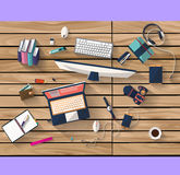 Business concept - work concept - flat design - place of work. Flat design - place of work - Top view of desk of wood that have one laptop and desktop and many Royalty Free Stock Photos