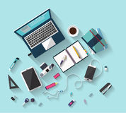Business concept - work concept - flat design - place of work. Flat design - place of work - Top view of desk of wood that have one laptop and many others Stock Image