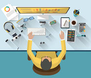 Business concept - work concept - flat design Royalty Free Stock Image