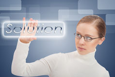 business concept. Young business woman chooses solution and success royalty free stock images