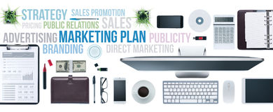 Business concepts and businessman's desktop. Marketing and communication concepts on a business desktop with computer, tablet and smartphone, top view Stock Photography