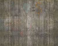 Business concepts doodles on old brown wooden wall Stock Photography