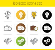 Business concepts icons set. Flat design, linear, black and color styles. Successful idea and work time symbols, cogwheels.  vector illustrations Stock Photography