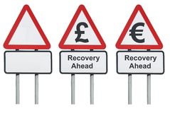 Business concepts roadsign, recovery ahead Stock Photo