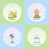 Business concepts set. Design template with flat line icons on theme commerce, management, start up, business analytics, finance, and market research. Vector Stock Photos