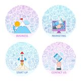 Business concepts set 2. Business concepts set. Design template with flat line icons on theme commerce, marketing, start up, business, finance and support Stock Photo