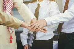 The Business Confederate hands together. The teamwork and unity stock photos