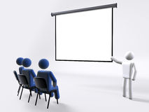 Business conference. A business conference presentation with 3d figures Stock Photo