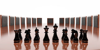 Business conference. Table with chess game stock illustration