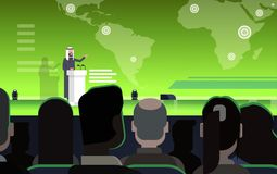 Business Conference With Arab Businessman Or Politician Talking From Tribune Over World Map Arabian Speaker On Stock Images