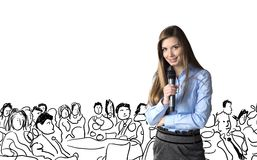 Business conference. Beautiful business woman is speaking on conference Royalty Free Stock Photography