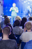 Business Conference Concept and Ideas. Lecturer Speaking In fron Stock Photography