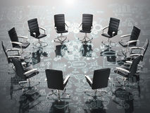 Business conference concept with office chairs and business plan. Business conference concept with 3d rendering office chairs and business plan Royalty Free Stock Photos