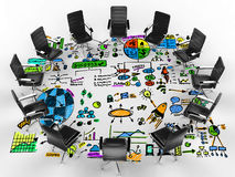 Business conference concept with office chairs and business plan. Business conference concept with 3d rendering office chairs and business plan Royalty Free Stock Image