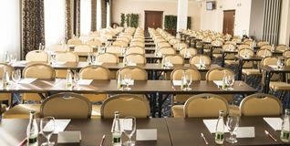 Business conference. Congress room is ready for indoor business conference stock images
