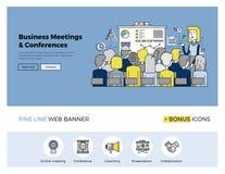 Business conference flat line banner stock illustration
