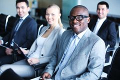Business conference. Image of business people sitting in rows at conference stock photos