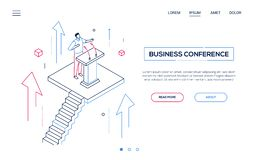 Business conference - line design style isometric web banner. On white background with copy space for text. A header with a man, manager, politician giving a royalty free illustration