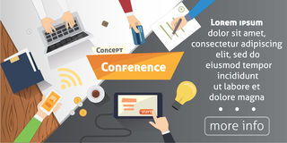 Business Conference or meeting vector concept. Startup company people working together. Flat style illustration. Stock Photo