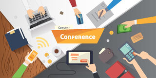Business Conference or meeting vector concept. Startup company people working together. Flat style illustration. Royalty Free Stock Images