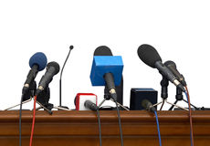 Business conference microphones. Close up of conference meeting microphones on white background with clipping path Royalty Free Stock Photography