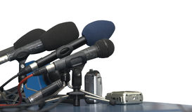 Business conference microphones Stock Photo