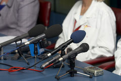 Business Conference Microphones Stock Photos