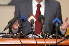 Business conference microphones. Close up of conference meeting microphones Royalty Free Stock Photography