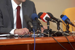 Business conference microphones Stock Photography
