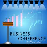 Business conference poster design template with microphones and graphics . royalty free illustration