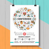 Business conference poster templates A4 size, line art icons vector illustration