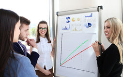 Business conference. Presentation with team training flipchart office royalty free stock image