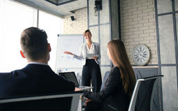 Business conference presentation with team training flipchart office. Business conference presentation with team training flipchart office royalty free stock photos