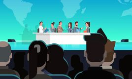 Business Conference Public Debate Interview Concept Official Meeting In Front of Big Audience. Flat Vector Illustration royalty free illustration