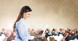 Business conference. Public indoor business conference for modern managers royalty free stock image