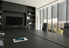 Business conference room with large windows. Overlooking a leafy city in a close up view on a black table and chairs. 3d render Stock Photography