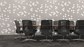 Business conference table in office. With patterned wall in background. 3d Rendering Stock Photo