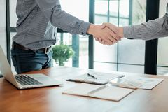 Business confident handshake and business people after discussin. G , success  concept Royalty Free Stock Photo