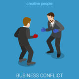 Business conflict businessmen boxing flat isometric vector 3d. Business conflict flat 3d isometry isometric dispute resolution fight concept web vector Stock Images