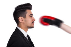 Business conflict concept, hit from boxer Stock Images