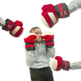 Business conflict. Scared businessman in boxing gloves Stock Photography