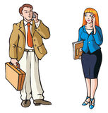 Business connection. Businessman and businesswoman, talking by phone, vector illustration Royalty Free Stock Image