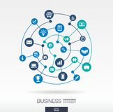 Business connection concept. Abstract background with integrated circles and icons for strategy research, digital Stock Image
