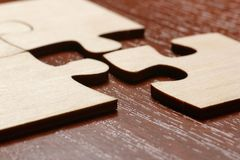 Business Connection Corporate Team Jigsaw Puzzle. Concept. A closeup to details Royalty Free Stock Photo