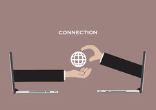 Business Connection and Global Network Technology Vector Illustr. Concept for using global network technology for virtual business connection. Vector Royalty Free Stock Images