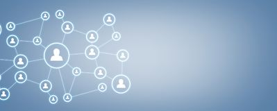 Business connection and social network on blue background. Royalty Free Stock Photo