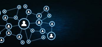 Business connection and social network on dark blue background. royalty free illustration