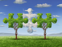 Business Connections. With the cloud as a network technology and business concept as clouds in the shape of a puzzle piece and a tree shaped as jigsaw game vector illustration