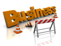 Business construction. Abstract 3d illustration of text 'business' and traffic cones, building business concept royalty free illustration